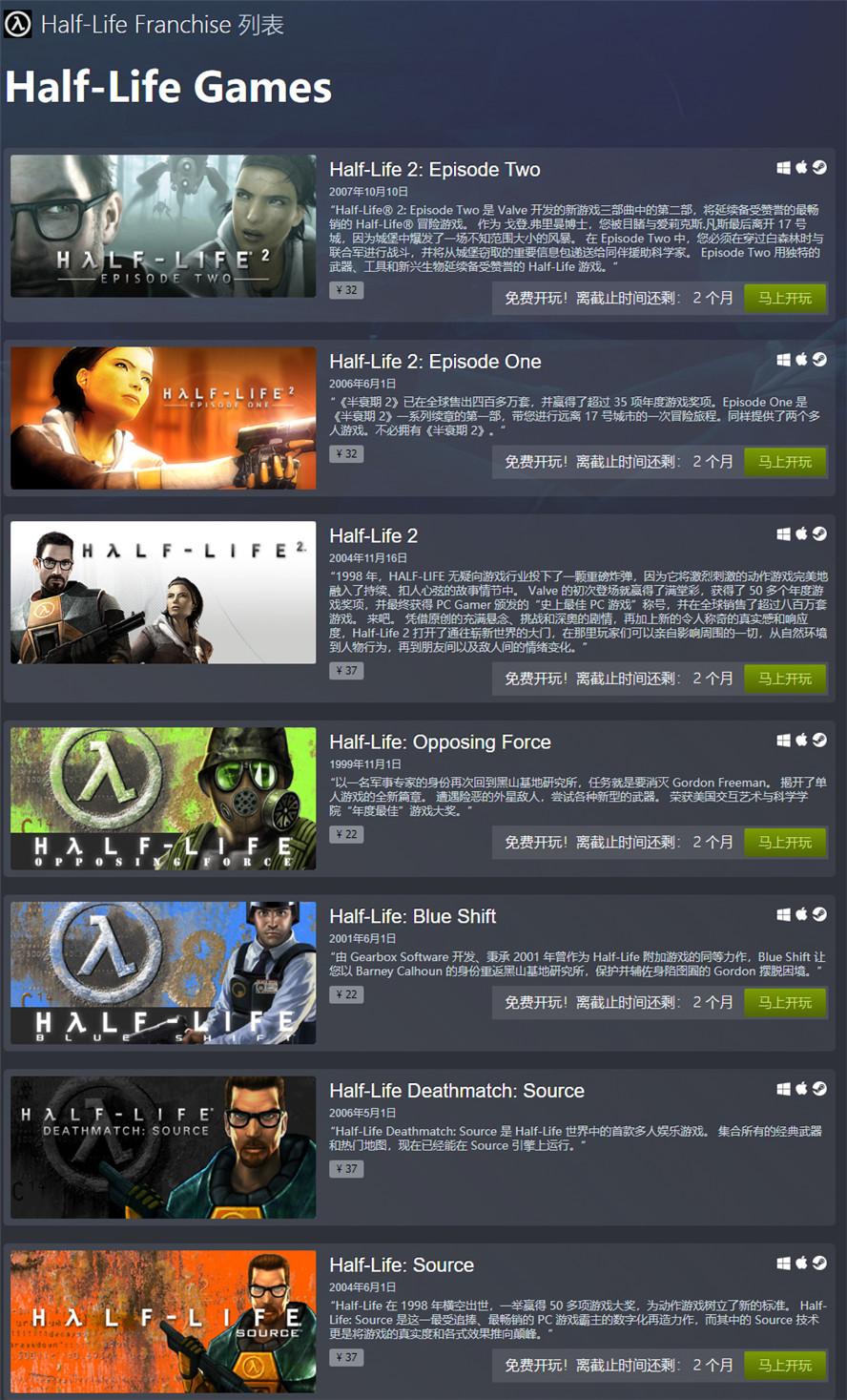 Steam平臺免費玩《半條命》全系列游戲圖片