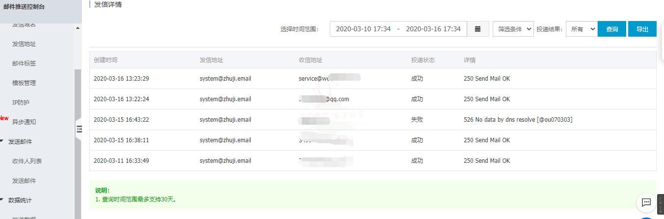 阿里云免费邮件 每日200封