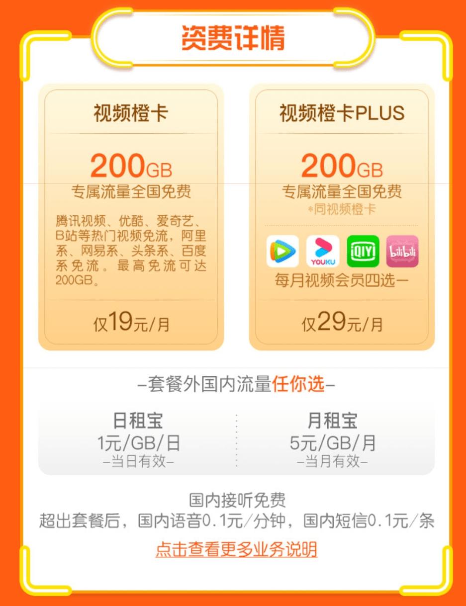 联通上线新套餐视频橙卡19/月